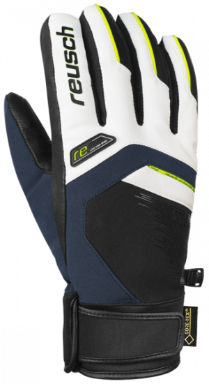 Lyžiarske rukavice Reusch Beat GTX® white/dress blue/neon yellow