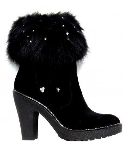 Luxusná dámska obuv Diavolezza 839 Velour Black/Black Fox Strass High Heel