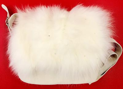 Luxusná dámska kabelka Diavolezza B27 Velour White/White Fox Strass