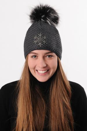 Lyžiarska čiapka R-JET FOR YOU Top Fashion Exclusive TF/EX_41 Antracitovo-šedá, čierny lurex